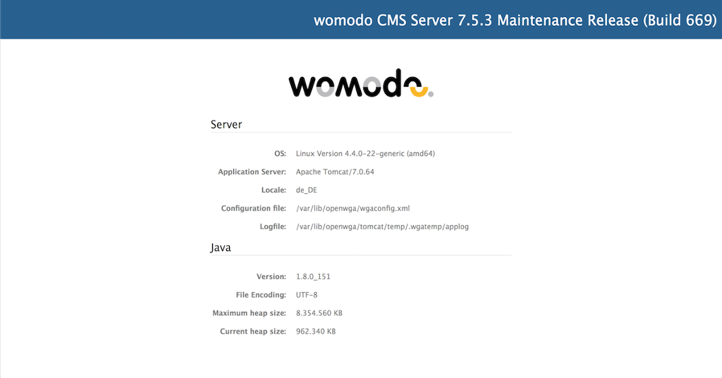 Womodo CMS Startpage