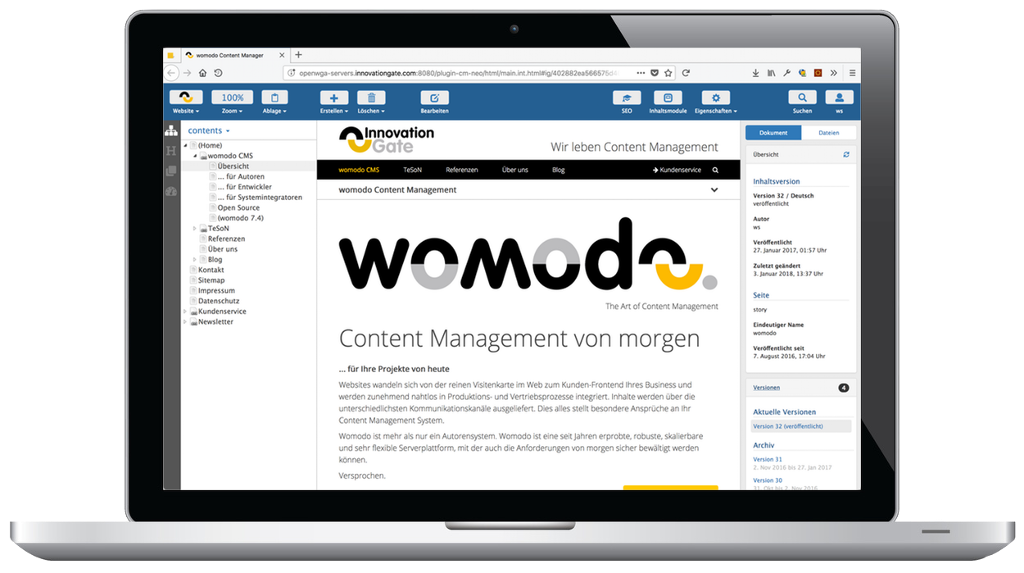Womodo 7.6 mit neuem Content Manager