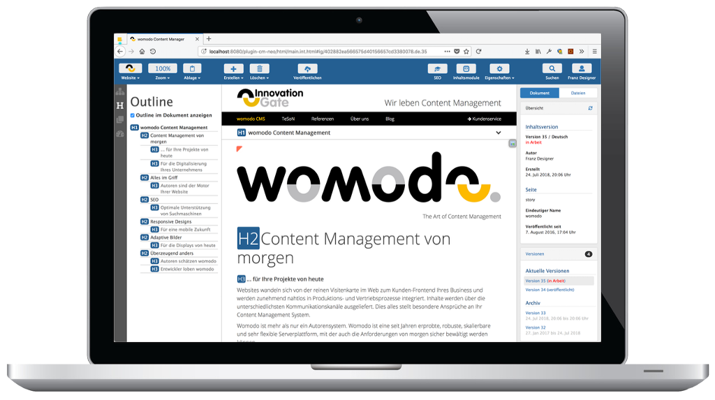 womodo 7.6 Content Manager Outline Ansicht