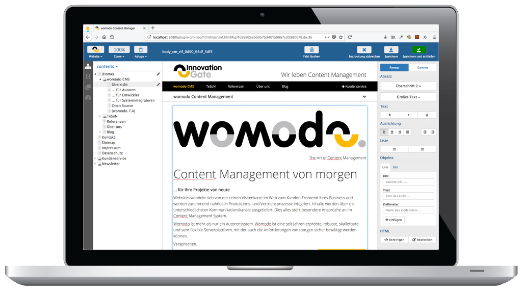 womodo 7.6 Content Manager Richtext-Editor